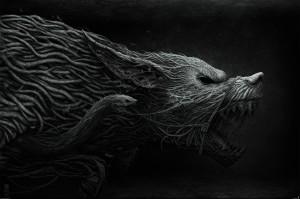 Fenrir, оскал, переплетения, волк, 3248x2159
