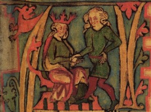 King  Haraldr hárfagri receives the kingdom out of his father's hands-islandskSaga