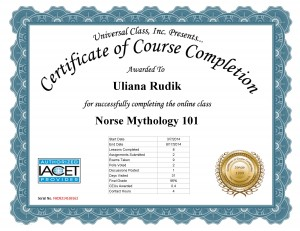 Norse mythology course certificate